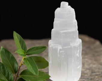"4"" White SELENITE Tower - Translucent Selenite Crystal Tower made from Selenite Slab - Positive Energy Healing Crystal, Healing Stone E0132"