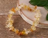 CITRINE Chip Beaded Bracelet - Crystal Jewelry, Gemstone Bracelet, Healing Crystals and Stones, Birthstone Jewelry E0629
