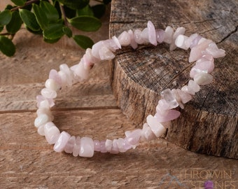KUNZITE Healing Crystal Chip Beaded Necklace Statement Necklace E0818