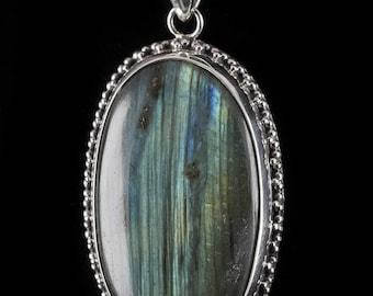 Labradorite Necklace Labradorite Pendant J0604 Labradorite Jewelry Blue Labradorite Stone 5cm LABRADORITE /& Sterling Silver Pendant