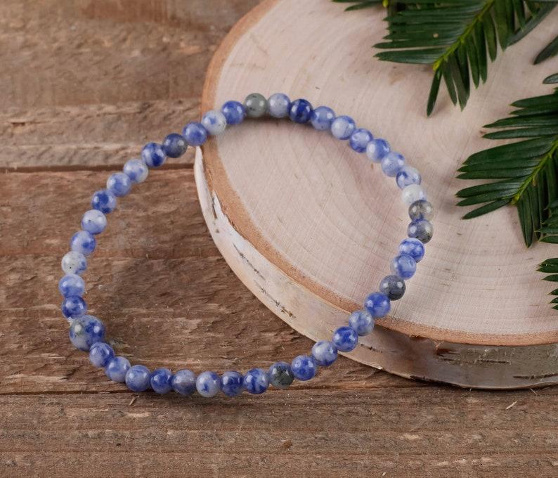 Sodalite Bracelet 4mm Beads Healing Stone Bracelet E0598 Sodalite Jewelry Sodalite Crystal Sodalite Stone SODALITE Stretch Bracelet