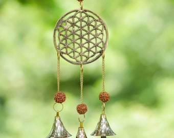 WIND CHIME - Flower of Life, RUDRAKSAH Beads, Gold, Bells - Windchimes for Outdoors, Home Decor, E0494
