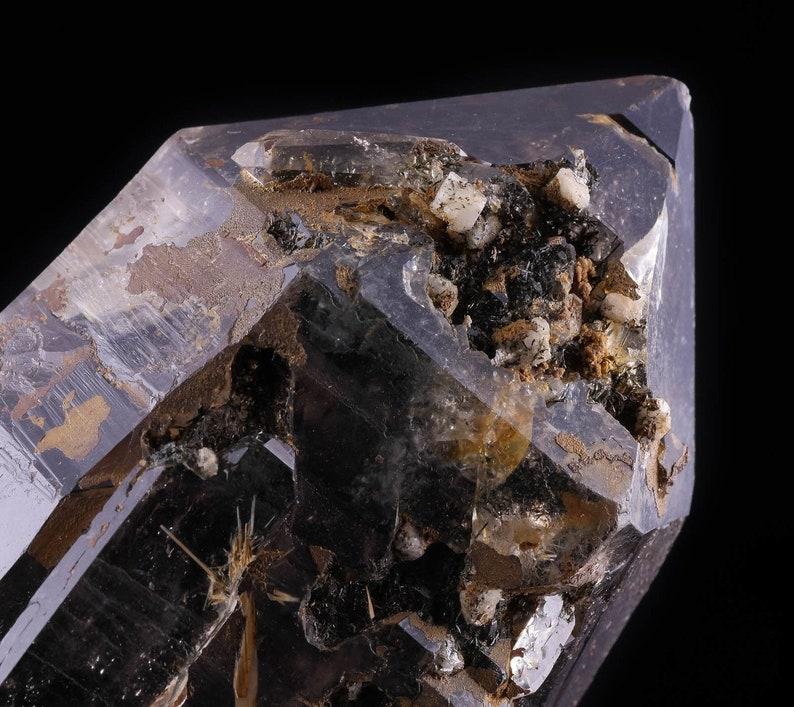 Housewarming Gift 2875 Home Decor Raw Crystals and Stones SMOKY QUARTZ w EPIDIDYMITE Raw Crystal