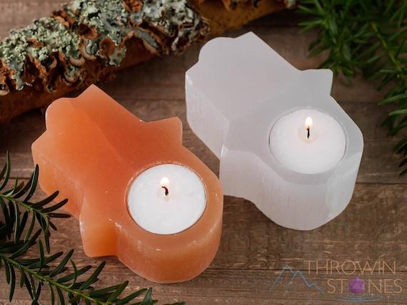 Selenite Hamsa Hand Candle Holder 4 Crystal Votive Etsy