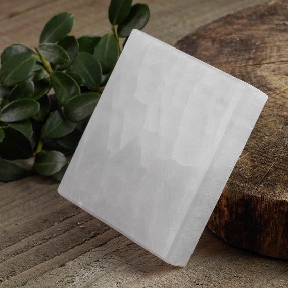 """Selenite Crystal Slab E1015 White SELENITE Plate 2.5/"""" Selenite Charging Plate"""