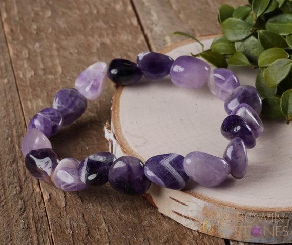 One Faceted CHEVRON AMETHYST Stretch Bracelet 10mm Bead Amethyst Bracelet Chevron Amethyst Crystal Bracelet Healing Crystal Jewelry E0931