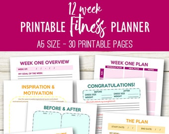 Weight Loss Journal, Filofax Fitness Journal Printable, Weight Loss Planner Printable, Workout Printables, A5 Fitness, Instant Download
