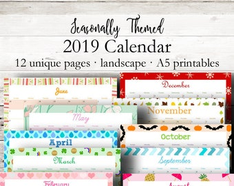 Themed Printable Calendar 2019 Monthly Planner 2019 Wall Etsy