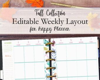 Happy Planner Printable Weekly Inserts Printable, Happy Planner Vertical Week Layout, Editable Weekly Printables, 7 x 9, Instant Download