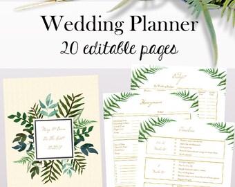 Wedding Planner Template | Editable Wedding Planner Template Wedding Planning Etsy