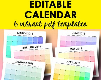 monthly calendar printable editable template calendar 2019 monthly calendars editable monthly printables letter size instant download