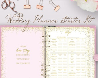 Glitter Pink Wedding Planner Book Planning Printable Binder Printables Checklist Plan Instant Download