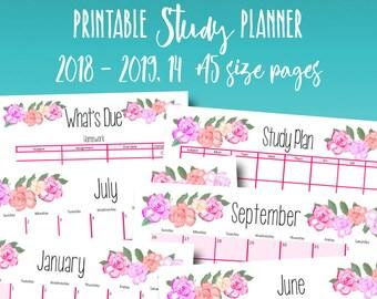 school planner 2018 2019 calendar academic planner printable project plan homework planners printables monthly calendar a5 instant download