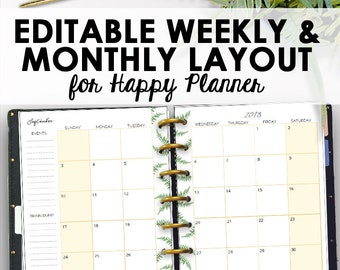 Boho Happy Planner Pages PDF Editable Kit Printable Planning Bohemian Inserts Instant Download