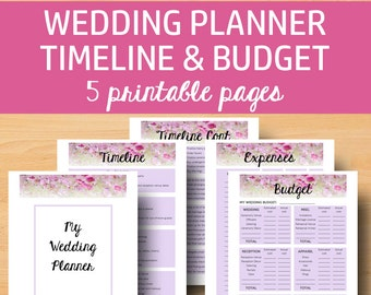 Wedding planner printable wedding planner pages do it wedding planner printable printable wedding planning book printable planning binder cover timeline checklist letter size instant download solutioingenieria Images