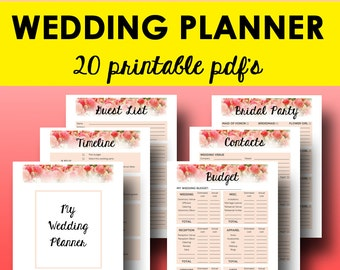 Wedding Planner Printable Book Planning Binder Printables Checklist Letter Size Instant Download