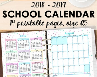 2018 2019 calendar inserts academic calendar printable a5 etsy