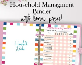 home management binder household planner printable home etsy