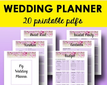 Wedding planner printable wedding planner pages do it etsy wedding planner book pdf printable wedding planner printable planning book planning checklist binder printables letter instant download solutioingenieria Image collections