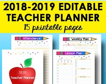a5 teacher planner 2018 2019 academic planner printable etsy