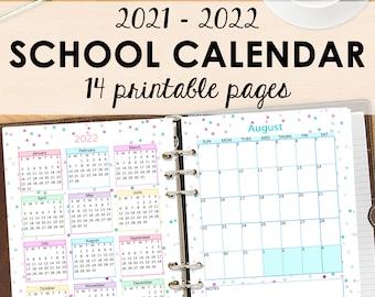 Student Planner 2021 2022 Monthly Planner Printable, School Calendar 2021 2022, Monthly Planner Academic Calendar, Monthly Calendar Download