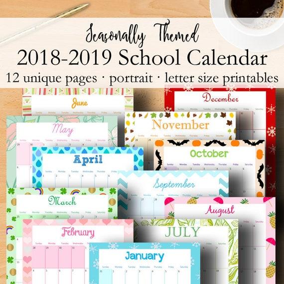 2018 2019 Calendar Printable Monthly Planner 2018 2019 School Etsy