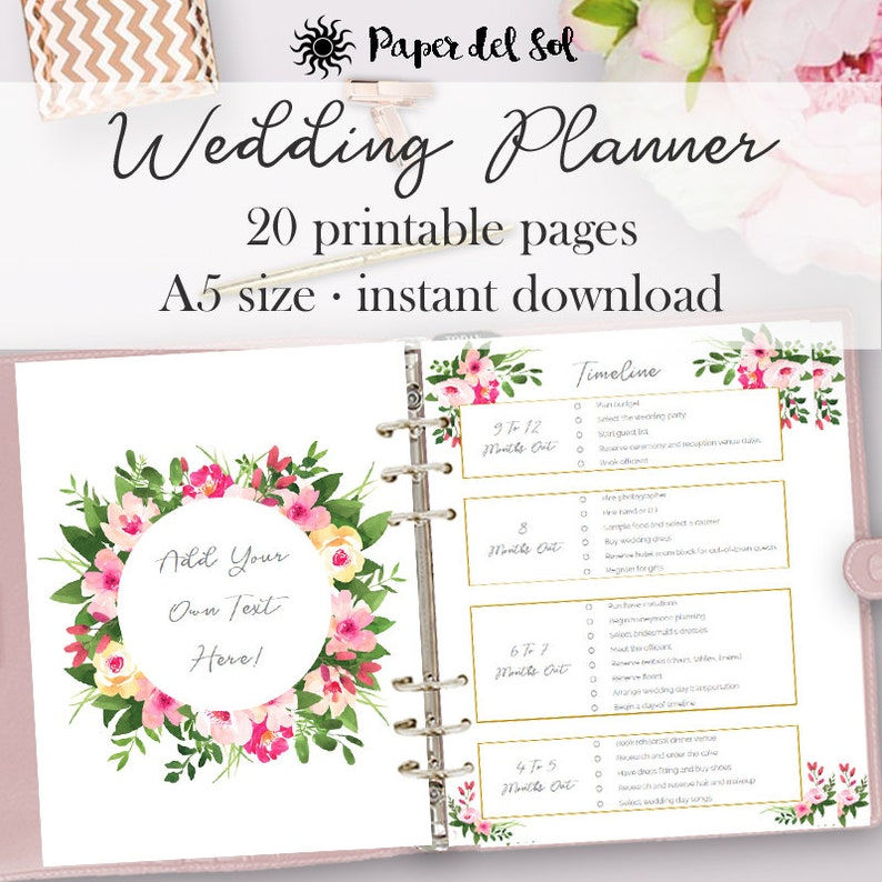 image relating to Printable Wedding Planner identify Wedding day Planner Printable, Wedding day Planner Internet pages, Do It On your own Binder Printables, Record Designing E-book, A5 Internet pages, Quick Down load