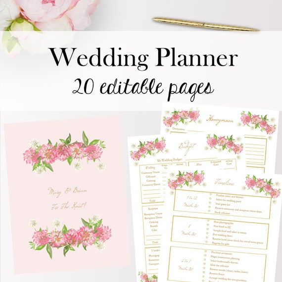 wedding planner printable wedding planning template etsy