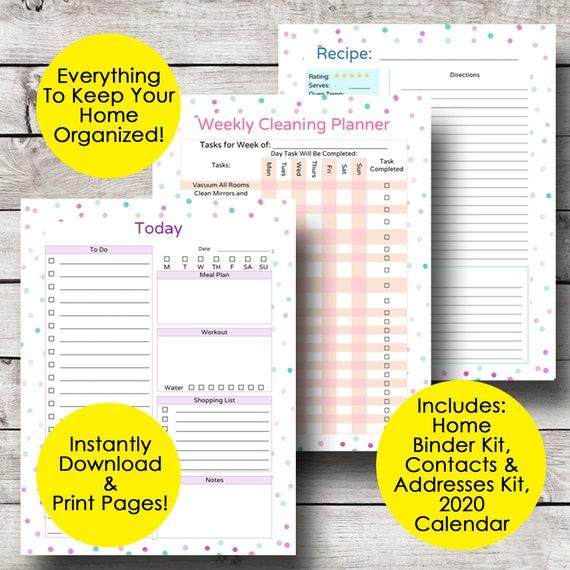 Home Management Binder Free Printables 2020.Home Management Binder Monthly Planner Printable Monthly Calendar Household Binder Home Planner Address Book Letter Size Instant Download