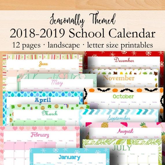 2018 2019 School Calendar Printable Monthly Planner 2018 2019 Etsy
