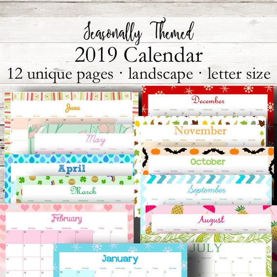 Monthly Printable Calendar 2019 Monthly Planner 2019 Wall Etsy