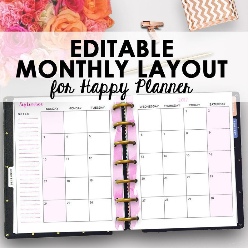 picture relating to Happy Planner Printable Calendar Pages named Pleased Planner Regular monthly Inserts, Every month Pleased Planner Printable, Editable Month-to-month Add Thirty day period Building Editable Thirty day period 7 x 9 Quick Down load