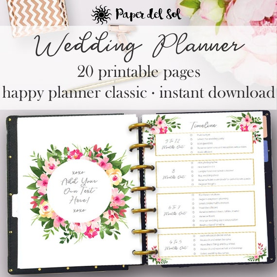 wedding planner pages happy planner inserts printable etsy
