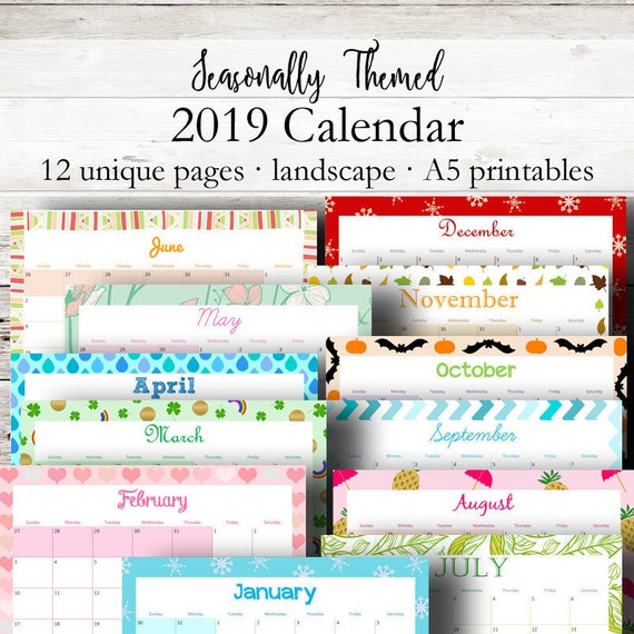Printable Monthly Calendar 2019 Monthly Planner 2019 Filofax Etsy