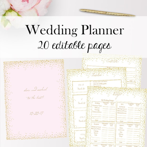 wedding planner template pdf editable wedding planner etsy