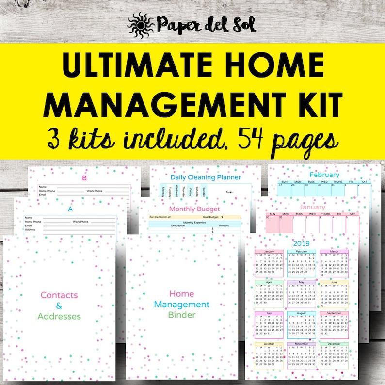 Home Management Binder Household Planner Printable Home