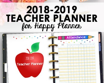 Happy Planner Teacher Lesson Planner 2018-2019, Homeschool Lesson Plan Printable, Teacher Planners, Homeschool Planning, Instant Download