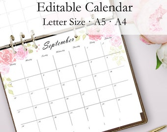 Editable Calendar Template, 2018 Printable Monthly Calendar, Monthly Printables, Editable Monthly Calendars, Letter Size, Instant Download