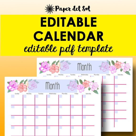 monthly calendar editable template planner printable calendar etsy