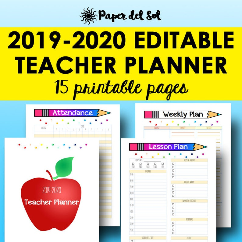 image relating to Free Printable Teacher Planner titled Trainer Planner 2019 2020, Editable Lesson Planner Printable, Instructional Creating, Instructor Planners Editable Homeschool Software, Instantaneous Down load