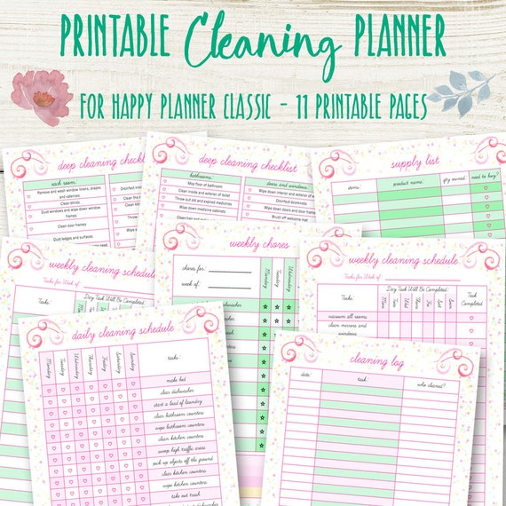 picture regarding Cleaning List Printable named Cleansing Timetable for Delighted Planner, Cleansing Planner Printable, Dwelling Organizer, Pleased Planner Property Printables Chart, Quick Obtain