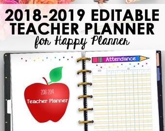 Happy Planner 2018-2019 Teacher Planner, 2018-2019 Editable Teacher Lesson Plan, Editable Homeschool Lesson Plan, 7 x 9, Instant Download