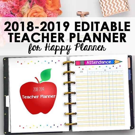 happy planner 2018 2019 teacher planner 2018 2019 editable etsy