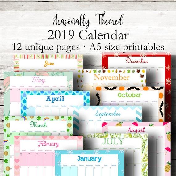 Monthly 2019 Calendar A5 Printable Calendar 2019 Printable Etsy