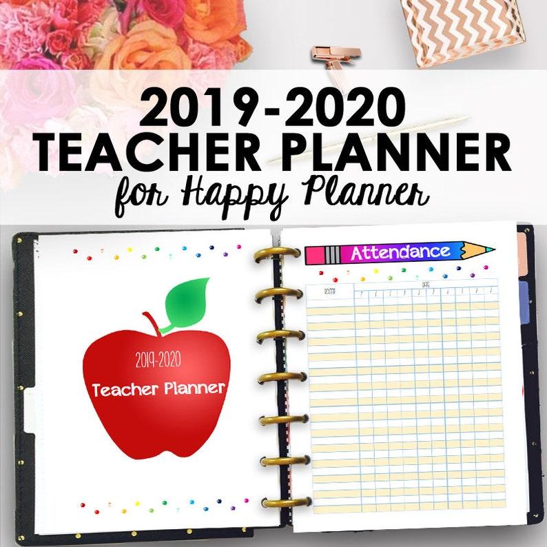 Happy Planner Teacher Planner 2019 2020, Homeschool Planner Printable,  Teacher Lesson Planners, Homeschool Lesson Planning, Instant Download