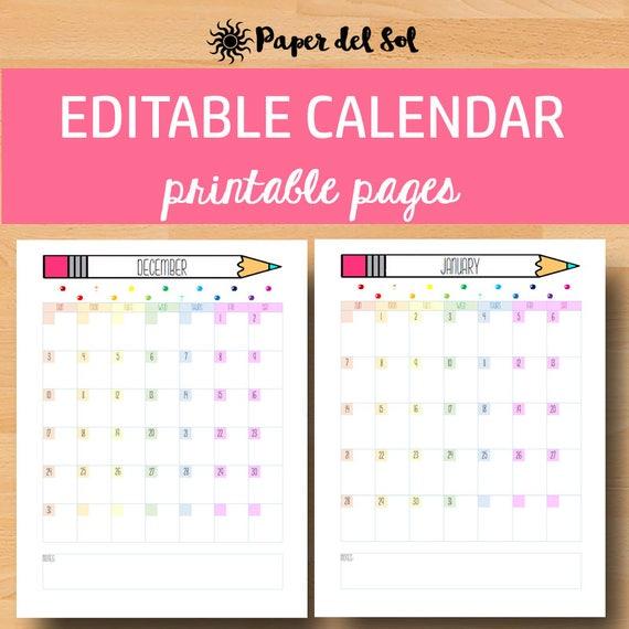Printable Calendar 2021 Monthly Calendar Printable Planner Etsy