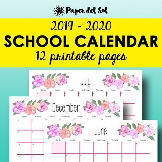 picture relating to School Calendar -16 Printable identified as 2019 2020 Printable Calendar, Regular monthly Planner, Higher education Calendar Printable, Instructional Planner 2019 2020 Printable, Letter Dimension Quick Obtain