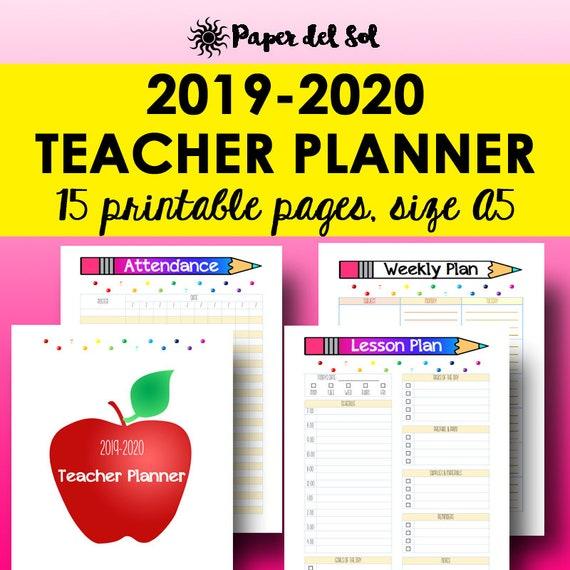 A5 Teacher Planner 2019 2020 Academic Printable