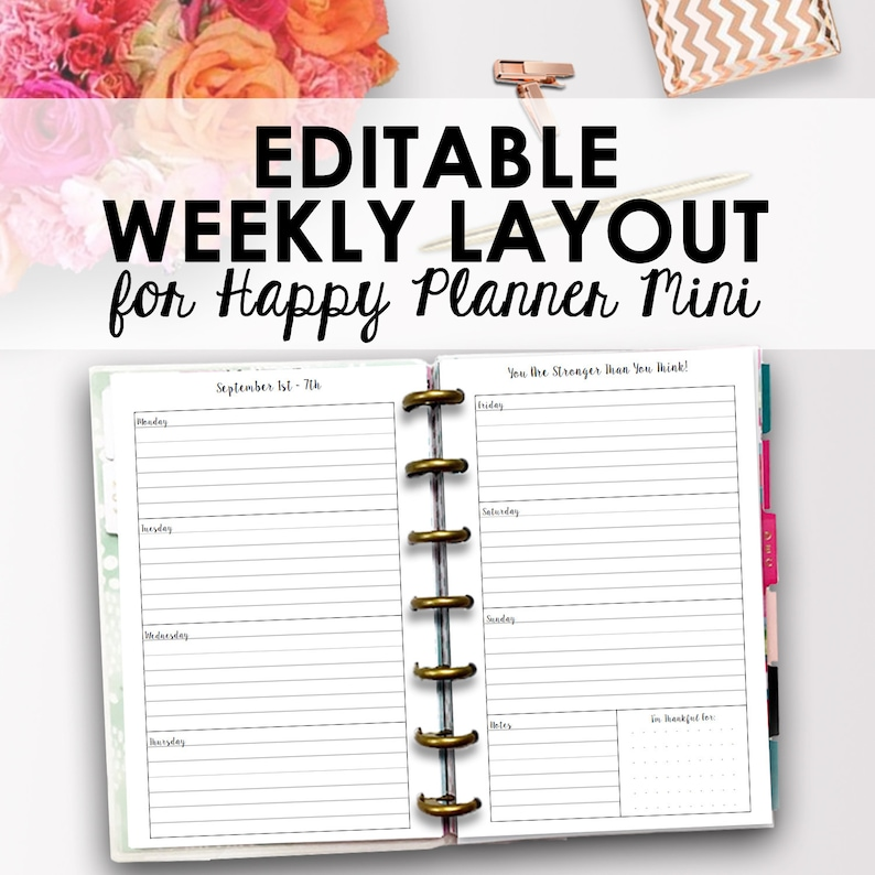 Mini Happy Planner Weekly Layout, Happy Planner Mini Printable Layout,  Editable Weekly Pages Printable Inserts, 4 6 x 7, Instant Download