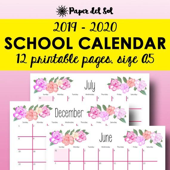 2019 2020 Monthly Planner Printable, Academic Calendar Printable A5, 2019  2020 Calendar, A5 Printable Monthly Inserts Pages Instant Downlaod